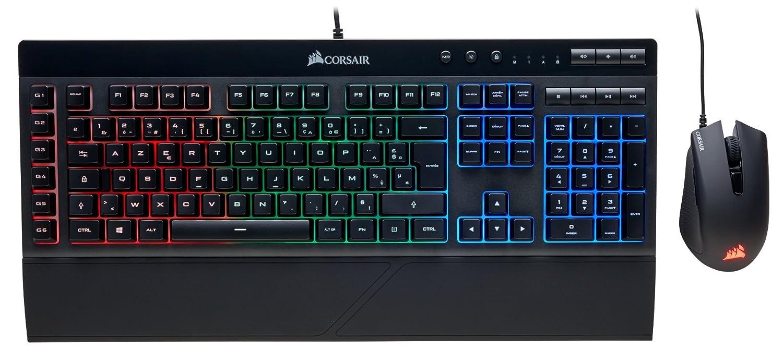 Corsair K55 RGB - Teclado Gaming (retroiluminación multicolor RGB, QWERTY) + Corsair HARPOON RGB - Ratón óptico para juegos (retroiluminación RGB ...