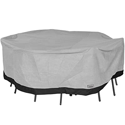"""North East Harbor Round Patio Table and Chair Set Outdoor Furniture Cover - 108"""" Diameter x 29"""" H - Breathable Material, UV Protected, and Weather Resistant Storage Cover - Gray with Black Hem : Garden & Outdoor"""