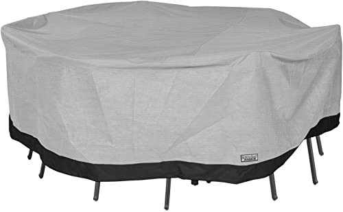 North East Harbor Round Patio Table and Chair Set Outdoor Furniture Cover – 108 Diameter x 29 H – Breathable Material, Sunray Protected, and Weather Resistant Storage Cover – Gray with Black Hem