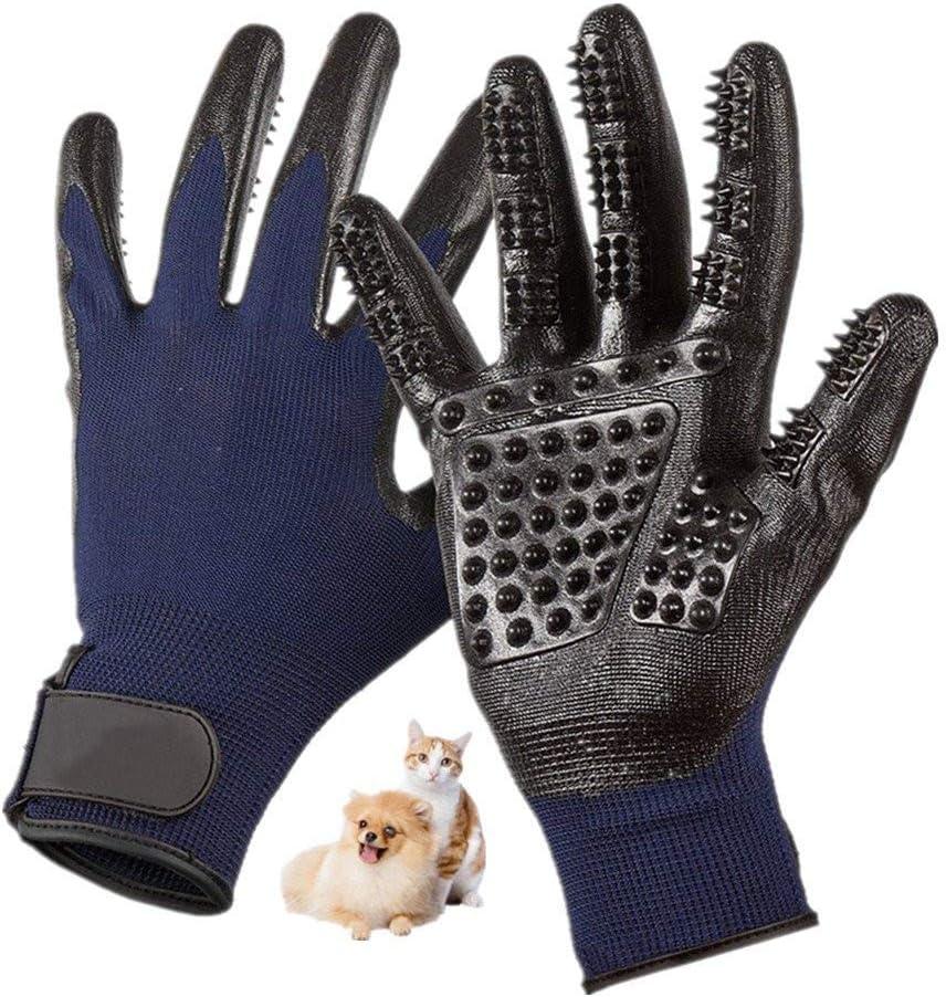 Nifogo Guantes Masaje Mascota - Cinco Dedos de Goma Cepillo Guantes para Perros Gatos Caballos, Derramamiento Baños Aseo (1 Par, Azul)