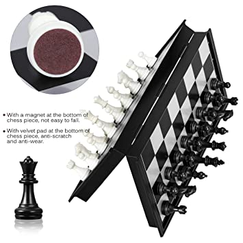 Brand Conquer Folding Materials and Smooth Surface Magnetic Chess Board, 10-inch (Black and White)
