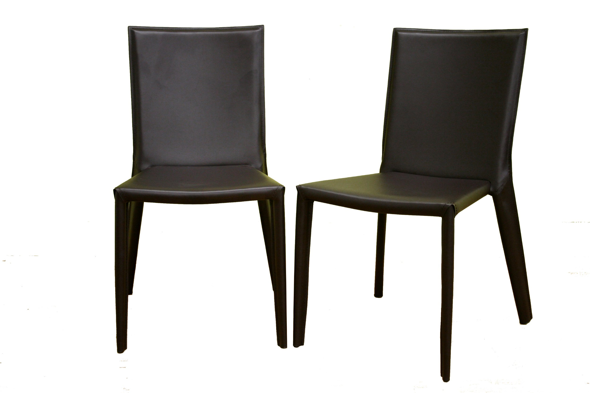 Baxton Furniture Studios Russo Bonded Leather Dining Chair, Chocolate Brown, Set of 2 - Set of 2 contemporary dining chairs with streamlined, modern design Seat, legs, and seatback covered in chocolate brown bonded leather Steel legs and frame for stability; low-profile black plastic floor protectors - kitchen-dining-room-furniture, kitchen-dining-room, kitchen-dining-room-chairs - 71BrIMsIjkL -