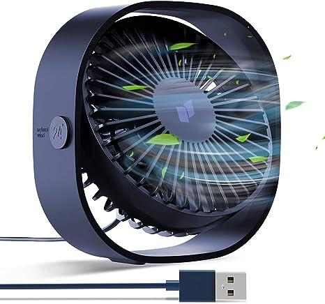 Portable USB Fan Mini Super Quiet USB Desk Fan Home Office Turbine Engine Design Table Cooler for Home Office Study Outdoor Travel Black