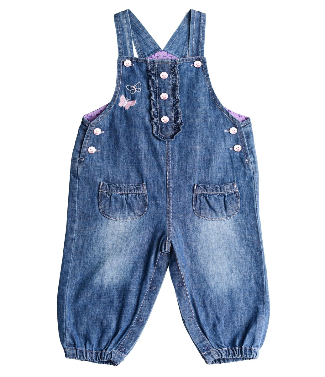 BUYIIT Baby&Little Girls Overalls Embroidered Butterfly Washed Dungarees Jumpsuits 3-24M