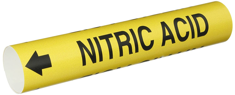 Black On Yellow Coiled Printed Plastic Sheet Brady 4247-B Bradysnap-On Pipe Marker B-915 Legend Nitric Acid