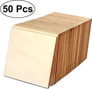 Blisstime 50 PCS 4 Inch Unfinished Wood Squares Pieces Natural Wood Coasters Wooden Square Cutouts for Painting, Writing, DIY Supplies, Engraving and Carving, Home Decorations