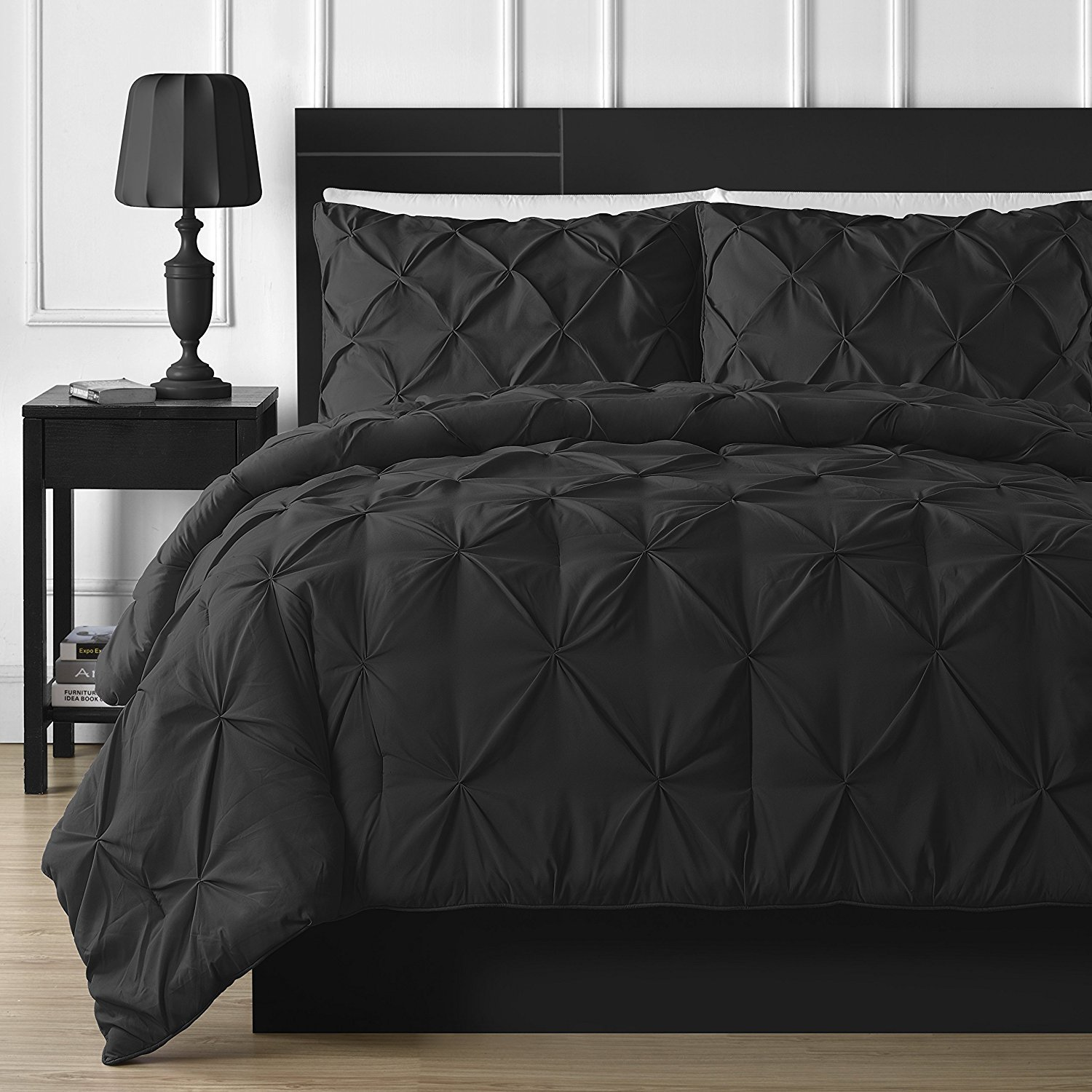 FINE LECHO Soft Luxurious 3-Piece Pinch Pleated Pintuck Decorative Quilt Duvet Cover Set Highest Quality Egyptian Cotton 800 Thread Count Comforter Cover (King/Cal-King, Black