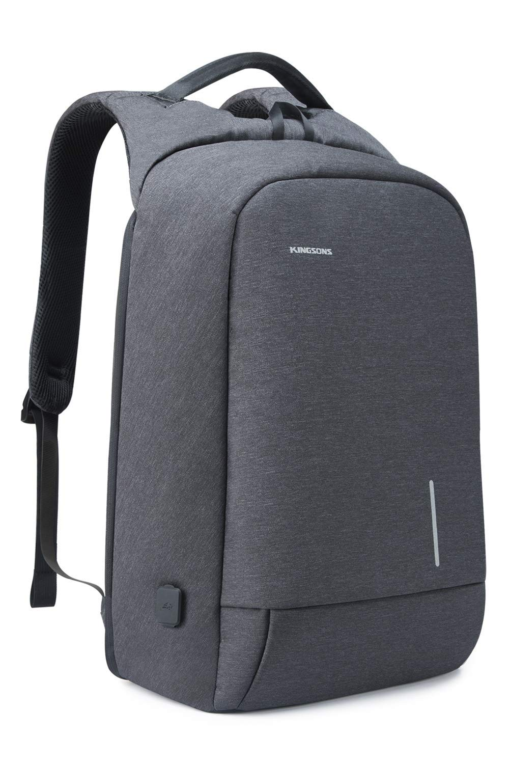 Lightweight Travel Laptop Backpack, Kingsons Business Travel Computer Bag Slim Laptop Rucksack 15.6 with USB Charging Port TSA Lock Anti Theft Bag Water Resistant for 15.6-Inch Laptop Bag Dark Grey