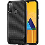 TheGiftKart Shockproof Carbon Fibre Soft Silicon Armor Back Cover Case for Samsung Galaxy M30s (Carbon Black)