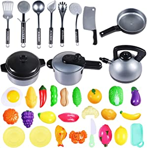 COOLOOK Kids Kitchen Pretend Play Set, 36 Pcs Cookware Pots and Pans Set Cookware Utensils, Healthy Cutting Food Playset Accessories for Toddlers Girls Boy Birthday Gift
