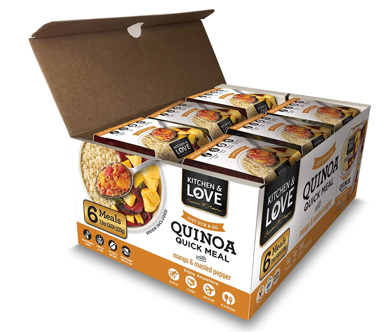 Kitchen & Love Mango & Roasted Peppers Quinoa Quick Meal 6 Pack