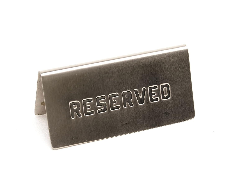 Genware nev-res-01Table Sign riservato, in acciaio INOX, 15cm x 5cm