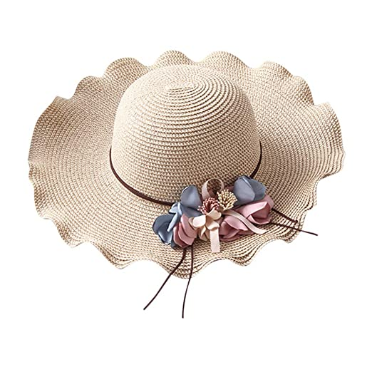 f625e13f369e8b Yucode Ladies Wavy Flowers Visor Beach Outdoor Sun Hat Sun Protection Straw  Hat Beige at Amazon Women's Clothing store: