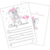 Pink Elephant Baby Shower Invitations Girl with Envelopes for Elephant Theme Baby Shower -Fill in Invitations (Large 5x7) 25 Count