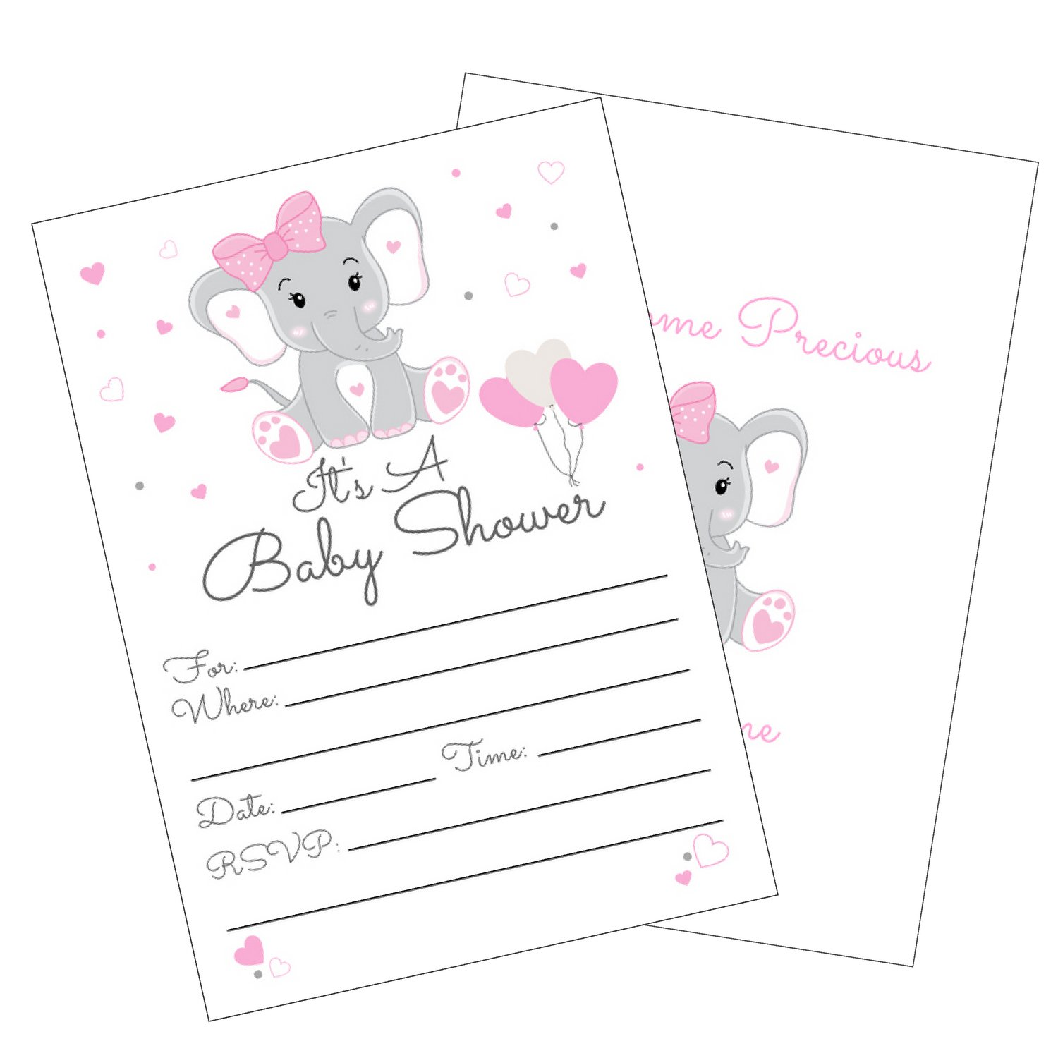 Pink Elephant Girl Baby Shower Invitations with Envelopes for Elephant Theme Baby Shower -Fill in Invites (Large 5x7) 25 Count