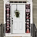 Luxiocio 40th Birthday Banner Decorations for Women, Rose Gold Cheers to 40 Years Welcome Porch Sign, 40 Years Old…
