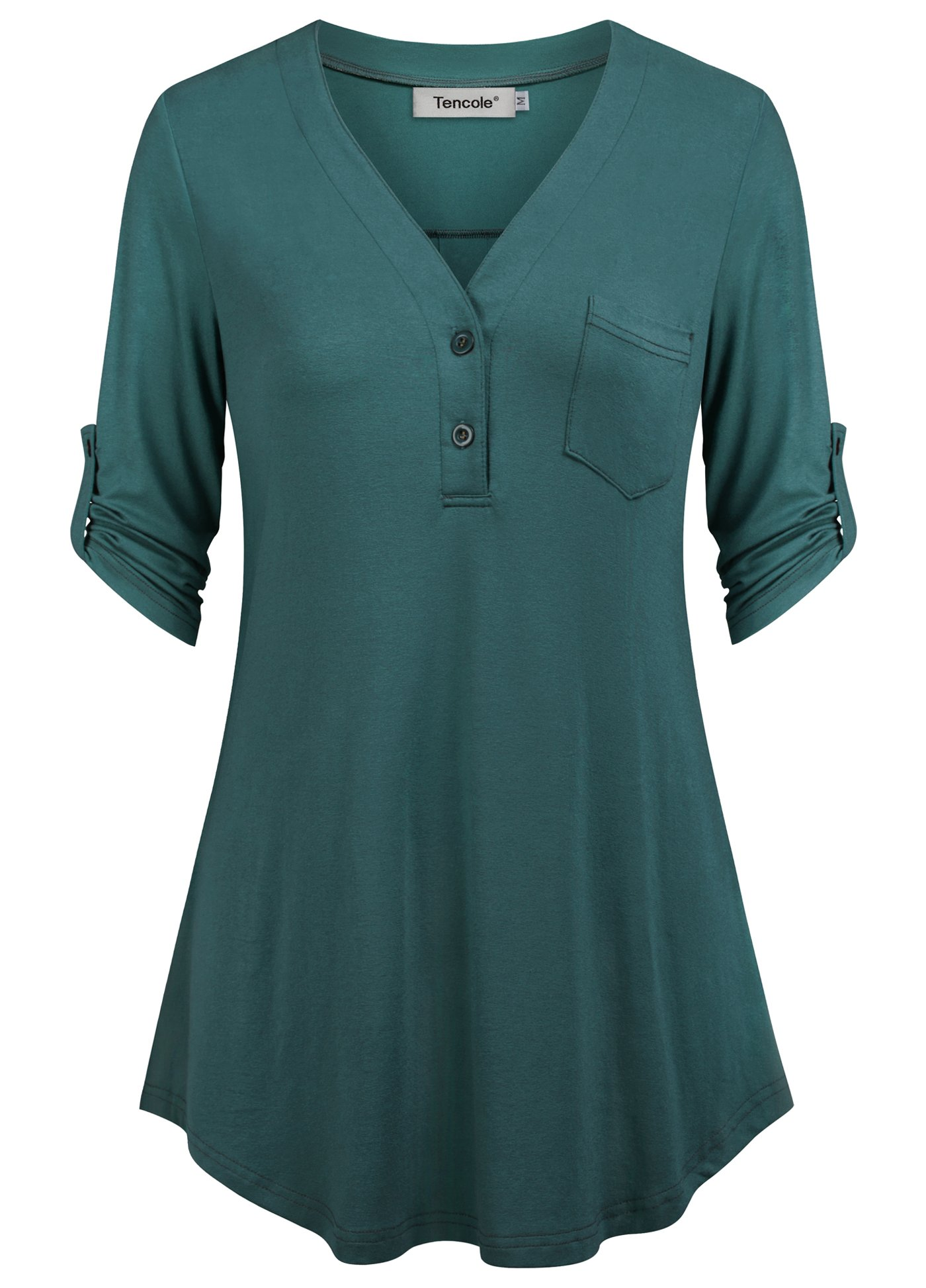 Tencole Button Front Tops for Women, 3/4 Sleeve Blend Cotton Office Wear Tunics Blouses Flattering Hemline Tee Shirt for Work Teal