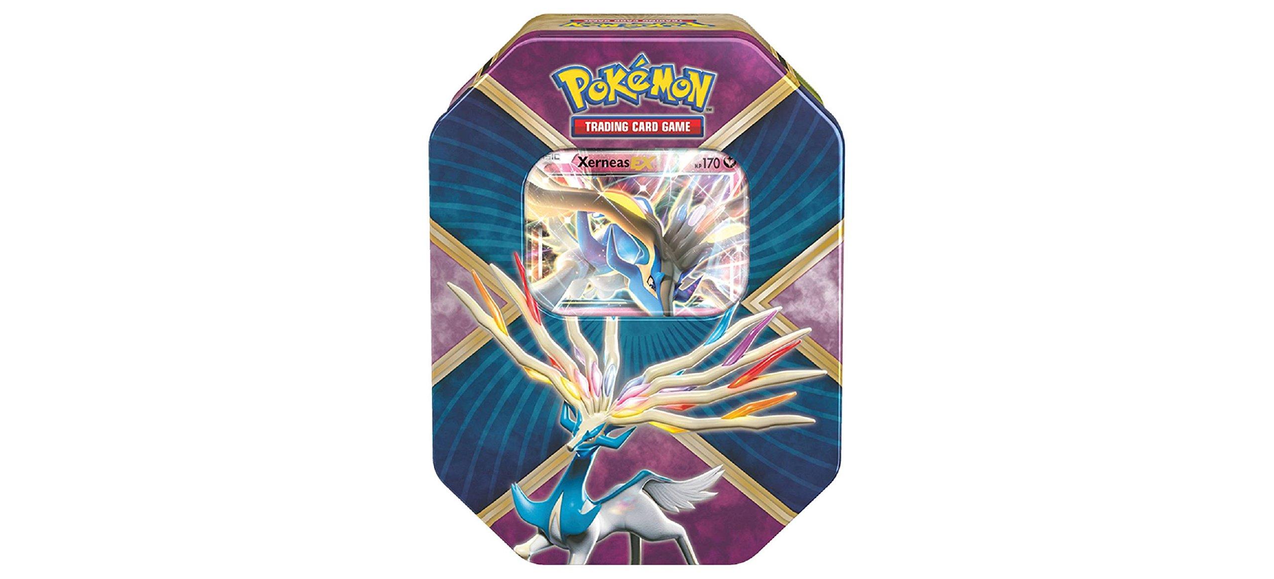Pokemon TCG: Xerneas EX Pokemon Tin - Legends of Kalos Tin Contains 4 Pokemon Booster Packs and Ultra Rare Xerneas EX