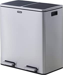 Superio–16 Gallon step-on Trash Can and Recycling Bin, Stainless Steel, Soft Close Lid, Fingerprint Free, includes 2 x 8 Gallon Removable Buckets with Handles, Airtight, Use for Kitchen, Office, Home.