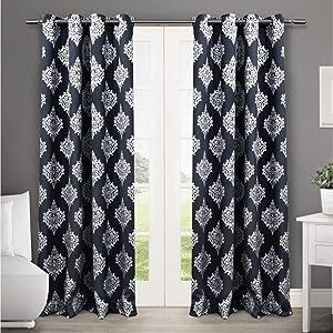 Exclusive Home Curtains Medallion Blackout Grommet Top Curtain Panel Pair, 52x84, Peacoat Blue, 2 Count