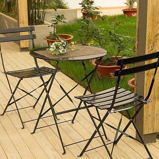 Good And Good Mesa Plegable y Silla Combinación de Tres Piezas, Multiusos, Mesa Plegable de Hierro y Arte con 2 sillas para Patio Jardín Cafetería Terraza (Color: Negro): Amazon.es: Hogar