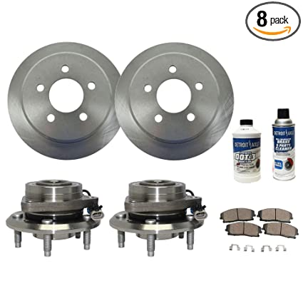 Detroit Axle - Front Wheel Bearing Hub Assembly and Brake Rotor w/Ceramic Pad Kit for 12-15 Chevy Captiva Sport - [07-09 Equinox] - 07-09 Pontiac Torrent ...
