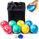 Rally and Roar SOFT Rubber 84mm Bocce Ball Set for Indoor/Outdoor by Rally & Roar- Complete Bocce Lawn Game with…