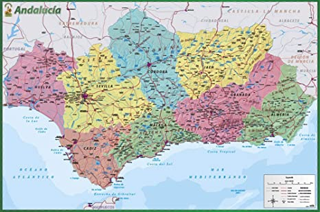 Map Of Spain Andalucia.Amazon Com Map Of Andalusia Spain Poster Andalucia Espagna