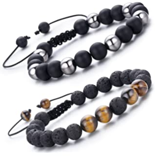 Amazon Com Maocen Handmade 8mm Bead Bracelets For Men Black Lava