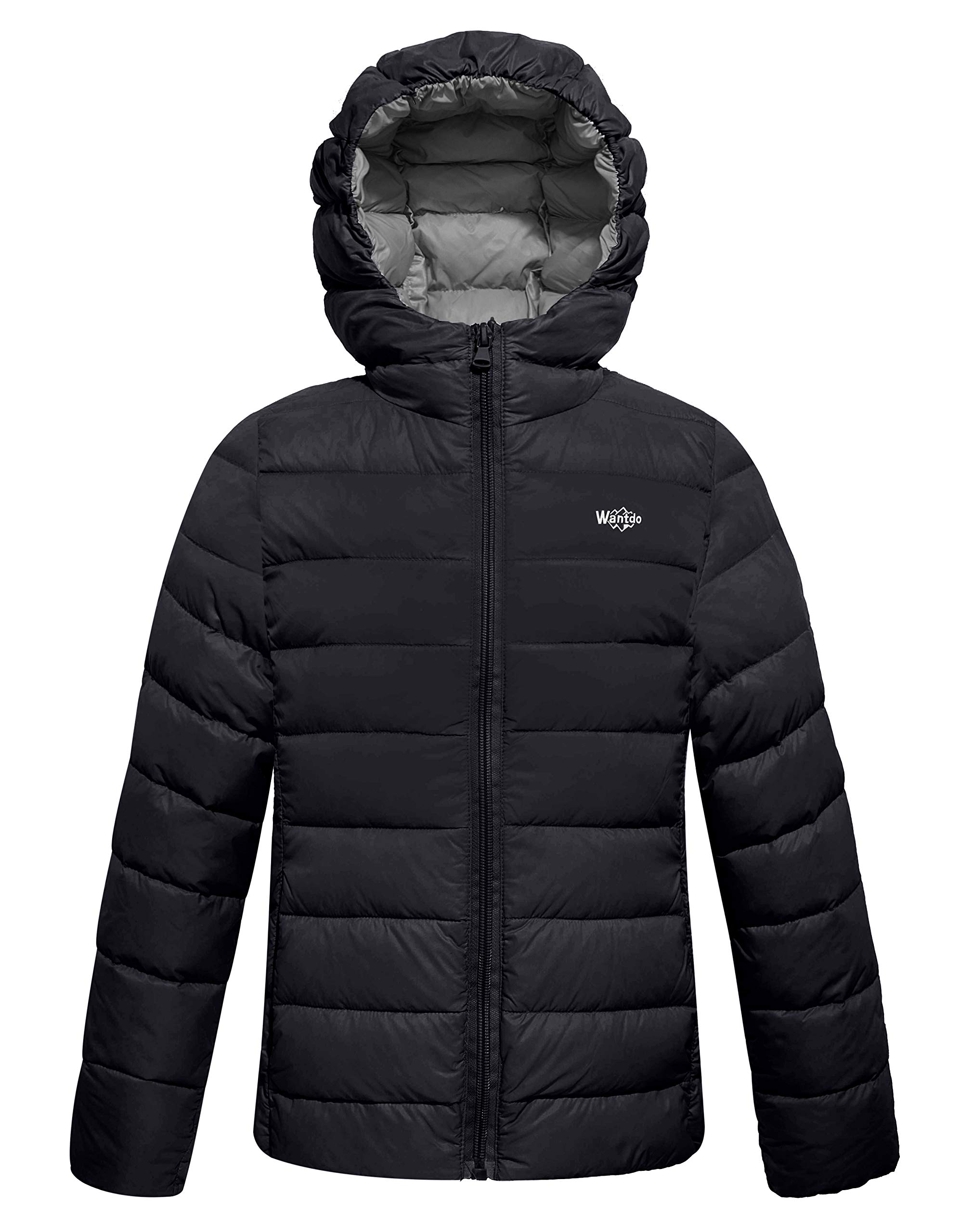 Wantdo Boy's Lightweight Puffer Down Jacket with Hood Packable Outdoors Wind Breaker(Black, 10/12) by Wantdo (Image #1)