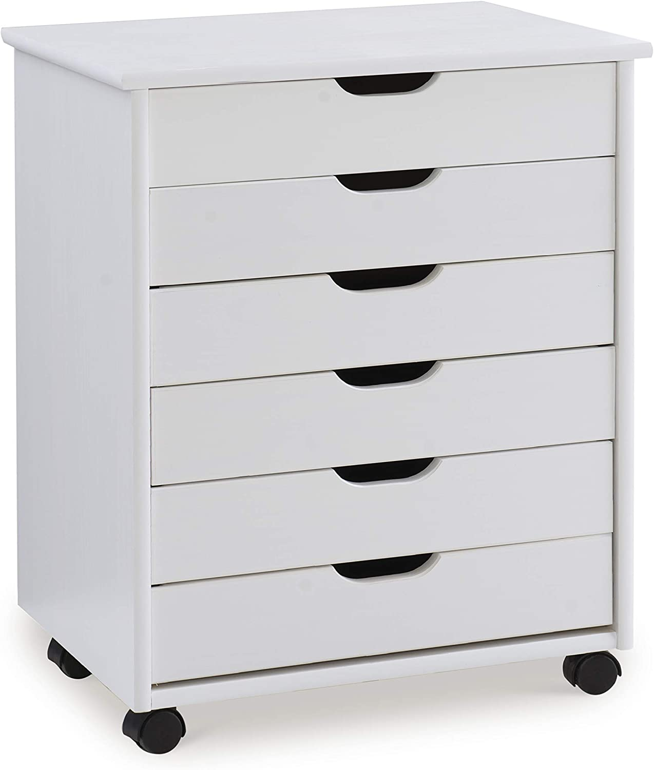 Linon Home Decor Products Corinne Six Drawer Wide, White Wash Rolling Cart