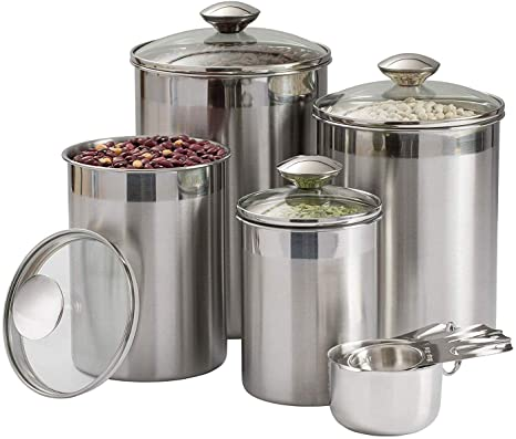 Beautiful Canisters Sets for the Kitchen Counter, 8-Piece Stainless Steel,  Medium Sized with Glass Lids and Measuring Cups - SilverOnyx Tea Coffee ...