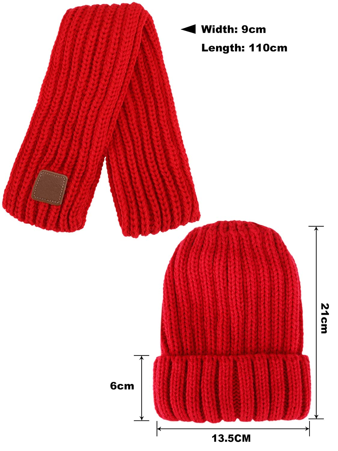 2 Pieces Totally Leinuosen Kids Knitted Scarf and Thick Beanie Hat for Winter Warm Wear