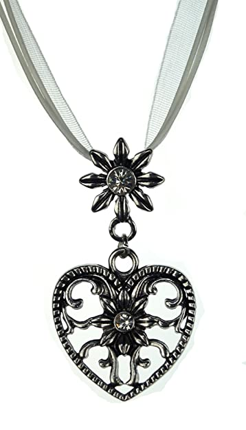 Women's Dirndl and Lederhosen Necklace - Heart and Edelweiss nWNG1CckEd