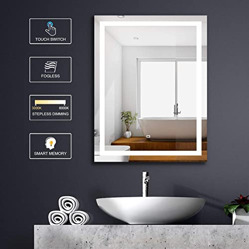 FUMANGO Wall Mounted Vanity Mirror LED Lighted Bathroom Mirror 36X28 Inch Rectangle with Dimmable Touch Switch Warm Cool White Daylight Light Tones, High Lumen CRI 90,Fogless