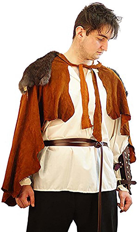 Medieval Leather Rabbit Fur Cloak Cape