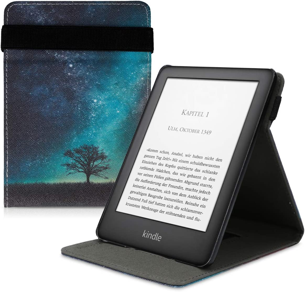 kwmobile Cover Compatible with Amazon Kindle (10. Gen - 2019) / Kids Edition - PU Leather e-Reader Case - Cosmic Nature Blue/Grey/Black