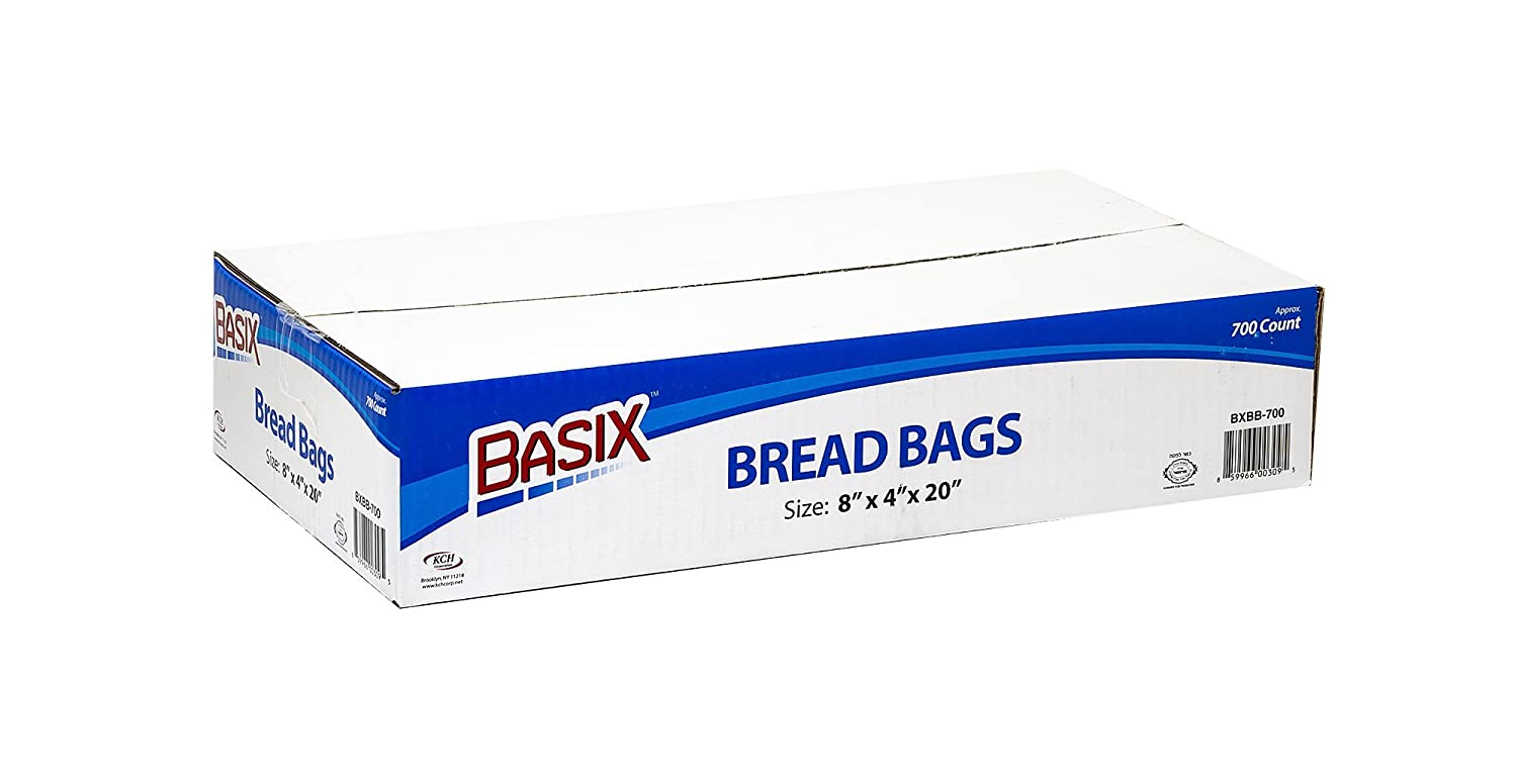8 x 4 x 20 Basix Plastic Clear Bread And Grocery Bags Box Of 700 SIZE