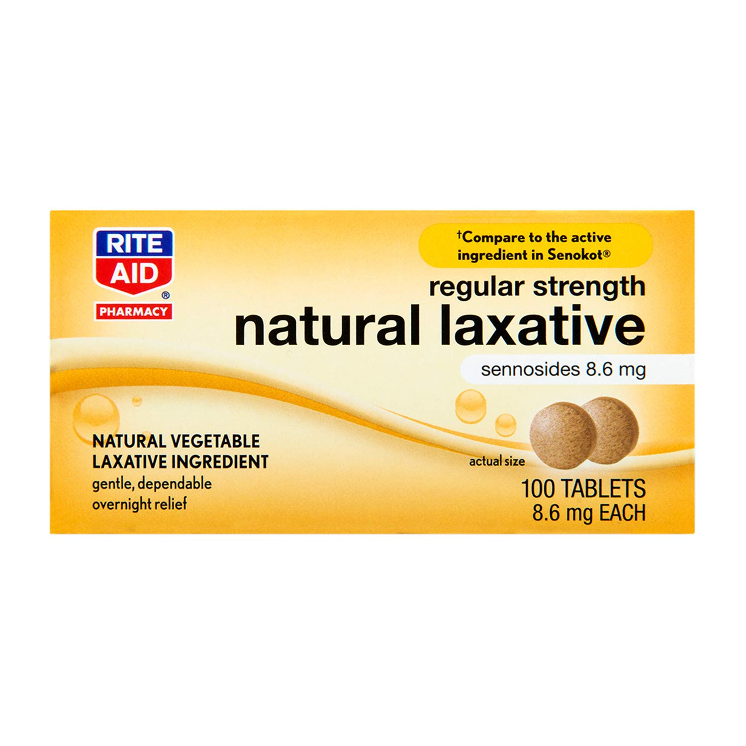 Rite Aid Vegetable Laxative Senna Tablets, 8.6 mg - 100 Count | Natural Laxative | Constipation Relief | Stool Softener | Vegetable Glycerin | Stool Softener with Laxative | Senna Leaves Organic