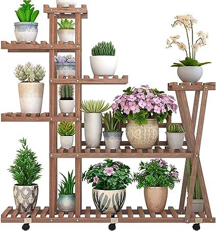 PLDDY Soporte para Plantas de Madera Maciza para Exteriores, para salón, balcón, Planta suculenta, Planta en el Suelo Interior y Exterior, Maceta de Hierro Forjado, Escalera Decorativa: Amazon.es: Hogar