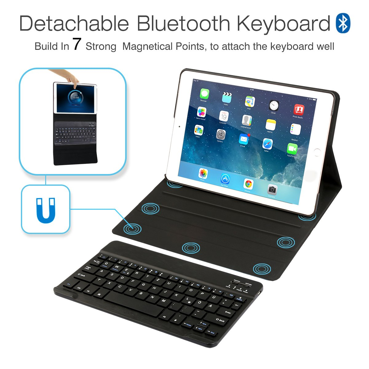 AntArt 10.5 Leather case + Wireless Bluetooth American English ABS Brushed Keyboard for iOS, Android Windows by AntArt (Image #3)