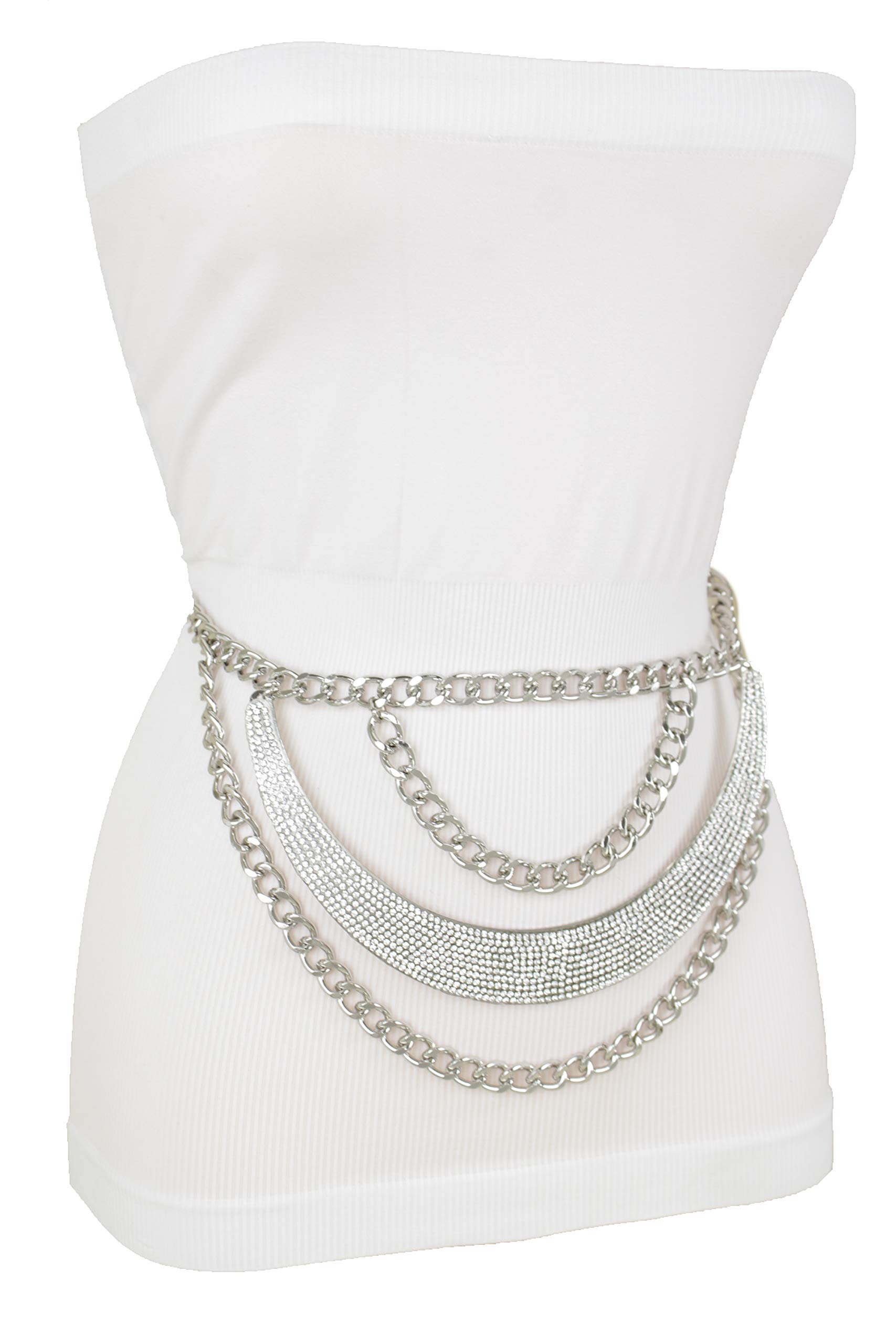 TFJ Women Fashion Dressy Belt Silver Metal Chains Waves Hip Waist Bling Plate XS S M