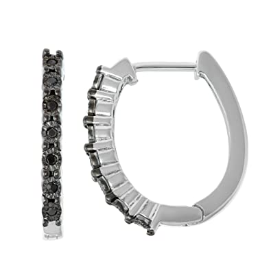 Fine Jewelry 1/2 CT. T.W. Black Diamond Sterling Silver Hoop Earrings Y8xlmhj
