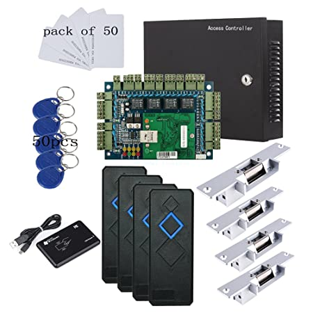 TCP/IP 4 Door Entry Access Control Panel Kit Electric Strike Fail Secure NO Mode Lock Enroll RFID USB Reader 110-240V Power Supply Box RFID Reader Phone APP remotely Open door