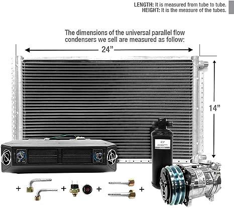 AC Universal Evaporator Underdash Unit 4 Louvers 12 V Double Shaft Blower