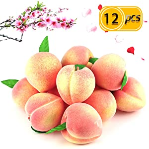 "BcPowr 12PCS Fake Fruit Peach - Artificial Fruit Plastic Artificial Lifelike Peach Simulation Pink Peach Fake Home Display Decoration For Still Life Paintings, Storefront Decoration(Pink,2.95""x 3.15"")"