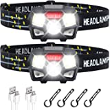 STURME Rechargeable Headlamp Flashlight 2 Pack 800 Lumens Bright LED Headlamp with Red Light and Motion Sensor 5 Modes Campin