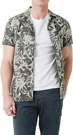 Scalpers Hawaiian SS Shirt - Camisa para Hombre, Talla 40, Color Verde Militar: Amazon.es: Ropa y accesorios
