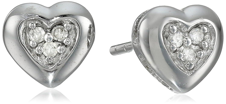 Diamond heart earrings - Amazon Com 10k White Gold Diamond Accent Heart Earrings Stud Earrings Jewelry
