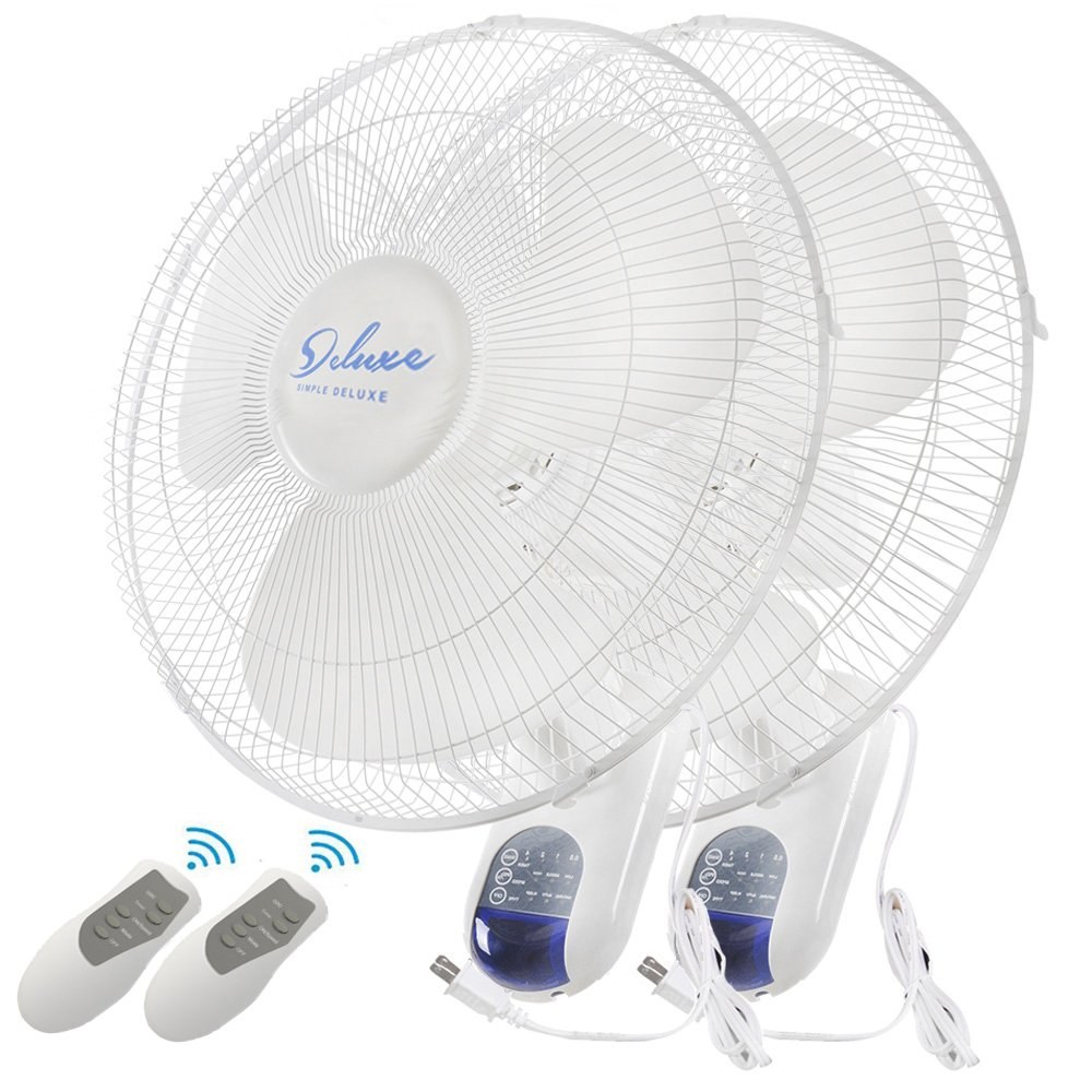 Simple Deluxe 2-Pack 16-Inch Digital Wall Mount Oscillating Exhaust Fan with Remote and Built-in Timer, ETL Certified